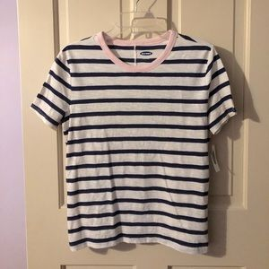 Old Navy Striped Shirt with Pink Collar Size S